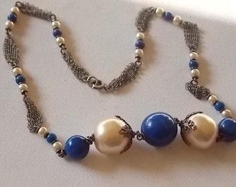 Vintage Art Deco Blue Glass Faux Pearls Necklace Very pretty SALE