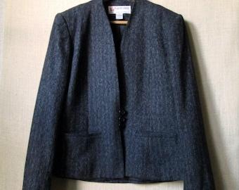 Vintage 70s Pinstripe Blazer, Short Tweed Jacket, Office Attire, Charcoal Grey & Black, High Neckline, Wool Banker Stripe, Womens Size 7/8