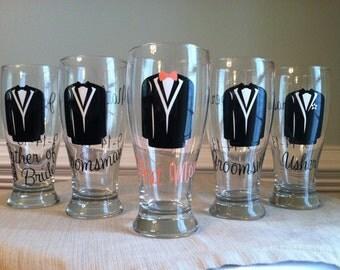4 Personalized Wedding Groomsmen Pilsner Glasses