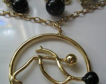 VINTAGE BOWLING NECKLACE and Pins Set Retro 1950's