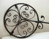 Vintage Wrought Iron Scroll Trivet, Long Handled Wrought Iron Trivet