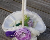 Ivory flower girl basket with flowers. Wedding. Flower Girl. Basket Only