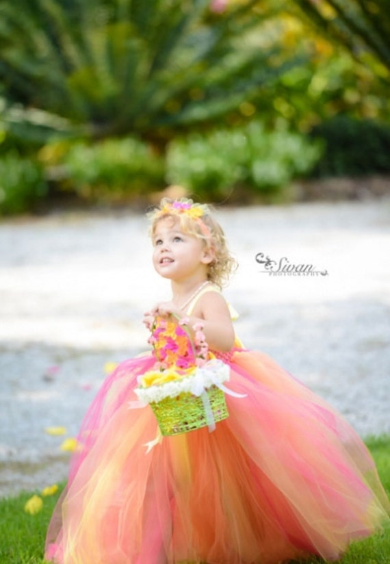Orange-Yellow-Hot Pink TuTu Dress. baby tutu dress, toddler tutu dress, wedding, birthday, Newborn, 2t,3t,4t,5t