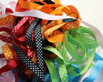 "5/8"" Dotted Grosgrain Ribbon - 18 yards of Assorted Colors - Bag of Grosgrain Ribbon"