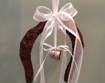 Lucky In Love - Rustic Country Western Wedding Ring Bearer Pillow Alternative - Vintage Horseshoe OOAK