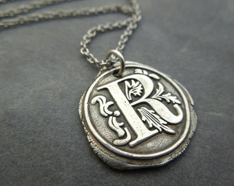 custom Wax seal necklace, any letter, fine silver