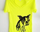 Neon Boston Terrier V Neck Tshirt