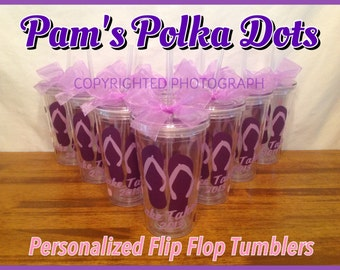 8 Personalized Clear TUMBLERS with FLIP FLOPS, name & polka dots Summer Pool Beach Gift