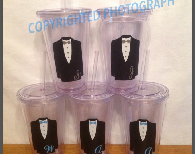 Personalized GROOM GROOMSMAN or RING Bearer Tumbler with Tuxedo & Initial Wedding Jr. Groomsman