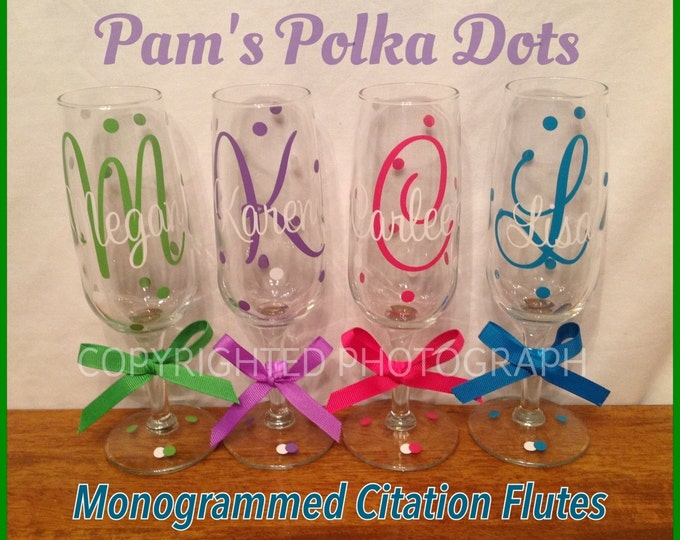 4 Personalized MONOGRAMMED CHAMPAGNE FLUTE Initial Monogram Polka Dots Bride Bridesmaid Bachelorette Wedding Birthday Party