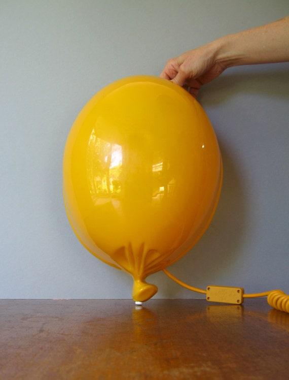 80's Pop Art Yellow Plastic Balloon Lamp