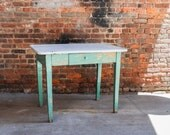 Farmhouse Rustic Kitchen Table with Enamel Top