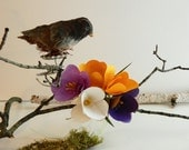 RESERVED Crocuses Papier Mache Bouquet Spring Flowers