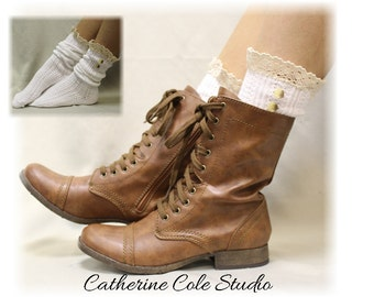 NORDIC LACE in White Socks lace boot socks boot socks combat boot socks womens boot socks cowboy boot socks Catherine Cole Studio SLX1B