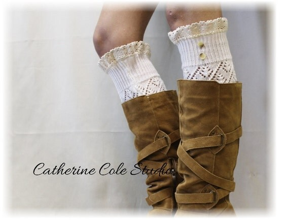 LUXURY LACE  Dreamy Cream Leg warmers lace pointelle leg warmers women legwarmers knit leg warmers for all boots Catherine Cole Studio LW29