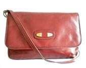 Sale *Save 20%* Etienne Aigner Maroon/ Brick Red Leather Shoulder Bag Hand Made