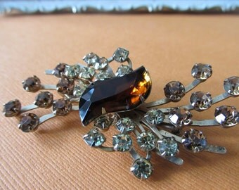 Vintage Amber and Honey Yellow Rhinestone Brooch