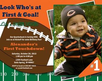 Football Birthday Invitation with Photo Orange Blue Customizable Printable