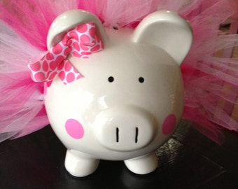 Polka Dot Tutu Piggy Bank-Large- Light Pink, Dark Pink and White-Baby Gift