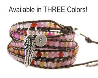 Guardian Angel Bracelet - Leather Gemstone Wrap Bracelet - Custom Initial Charm