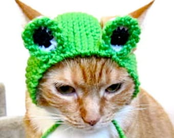 Frog Costume for Cats - Hand Knit Cat Hat - Cat Halloween Costume