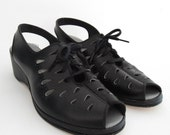 Vintage Black Open Toe Slingback Lace Up Wedge Heel Shoes Size 6 1/2 EE