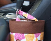 Hanging fabric bag- pink, orange and brown leaves