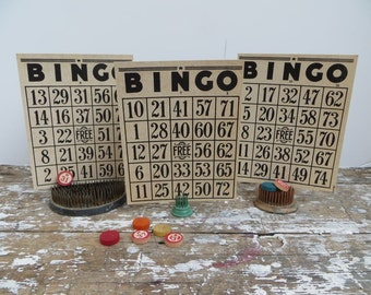 Bingo Cards Industrial Decor Numbers Black and White Bingo Card