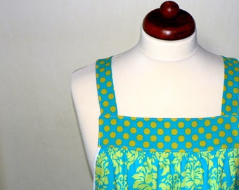 """Pinafore Apron, """"no tie apron"""" - Dottie Damask in Lagoon loose-fitting smock apron, made-to-order XS to Plus Size"""