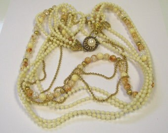 Vintage Cream & Rust Multi Strand Beaded Necklace with Fancy Clasp, Vintage Beads, Gold Tone Metal 7 Strands of Beads