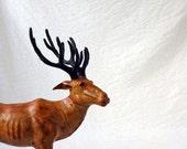 Stag with antlers, leather reindeer or elk figurine