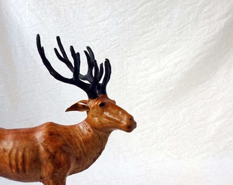 Stag with antlers, leather reindeer or elk figurine