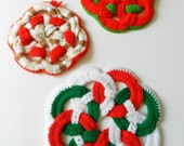 Christmas Cheer for the Table Round Crochet Coasters Doilies Hotpads Pot holders Set of 3