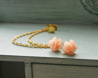 Blush Blossom Gold Double Chain Ear Cuff Earrings (Pair)
