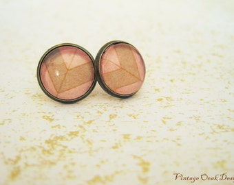 Coral & Sand Chevron Studs, Coral Earrings,Glass Cab and Antique Bronze Earrings,  Summer Jewelry,  Bridesmaid Jewelry, August Trends,