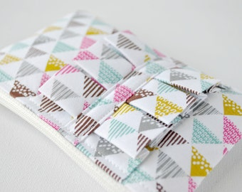 Zippered ruffle Pouch, Phone Case, Coin Purse, geometric fabric,stripes and spots triangles, white, aqua blue, pink and mustard yellow.