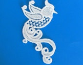 Any Color Lace Applique for Crafts or Crazy Quilt - Bird with swirling feathers
