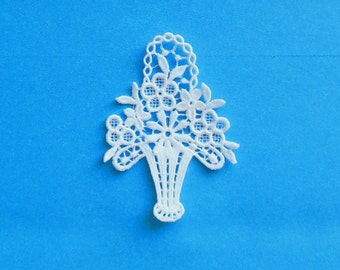 Lace Applique for Crafts or Crazy Quilt - Victorian Flower Basket IV