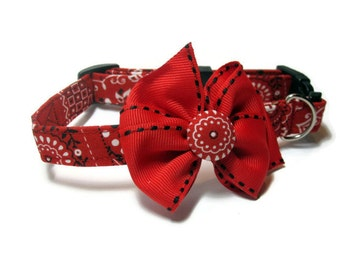 Red Bandana Dog Collar size Small