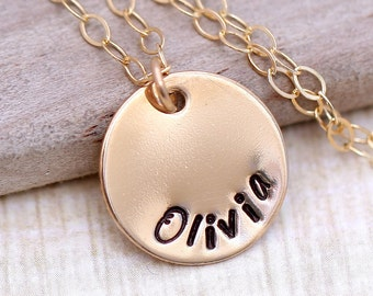Personalized Mother's Necklace, Gold Mothers necklace,  Personalized Mother's Gift,  Hand Stamped Jewelry, Gold Necklace, Name necklace