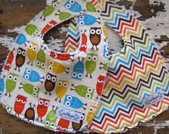 SALE Baby Bibs - Set of 2 - Bermuda Owls and Chevron - Gender Neutral Boy or Girl