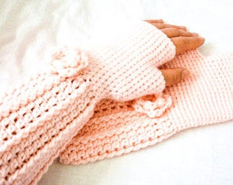 Fingerless Gloves with Flower Embellishment - Powder Pink Wristwarmers - Made to Order