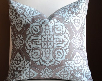 NEW!-Ready to Ship-Decorative Pillow Cover -20x20-Jakarta-Mineral- BOTH SIDES-Teal-Taupe