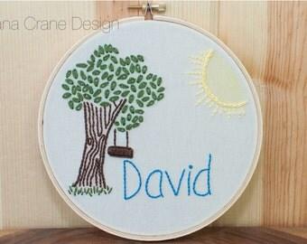 Tree Swing . Custom Embroidery Hoop