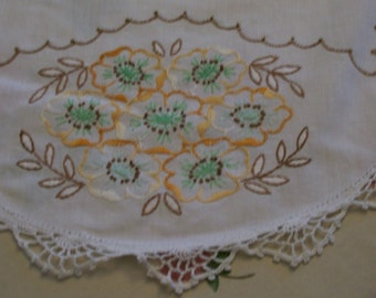 """Vintage Embroidered  Runner  Hand Done Autumn Colors Runner Hand Stitched 14"""" x 40""""  Embroidery & Crochet Table Runner Dresser Scarf Topper"""
