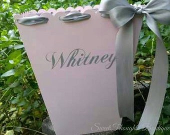 Personalized Ribbon Trash Can ~ Personalized Ribbon Waste Basket~ Many Colors Available