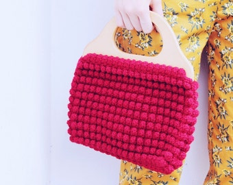 Red Crochet Bag with Wooden Handle