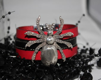 Womens Black and Red Leather Spider Bracelet