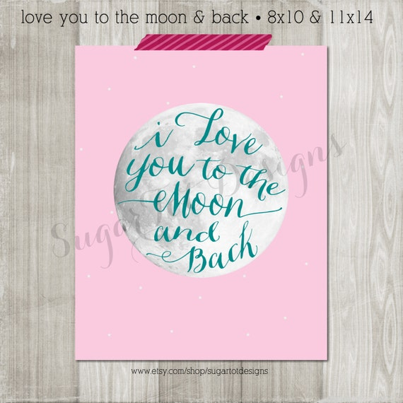 I Love You Quotes: Items Similar To I Love You To The Moon And Back Print