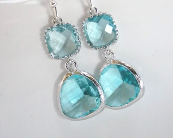 Blue Earrings, Aquamarine Earrings, Aqua Earrings, Silver Glass Earrings, Wedding, Bridesmaid Earrings, Bridal Jewelry, Bridesmaid Gifts
